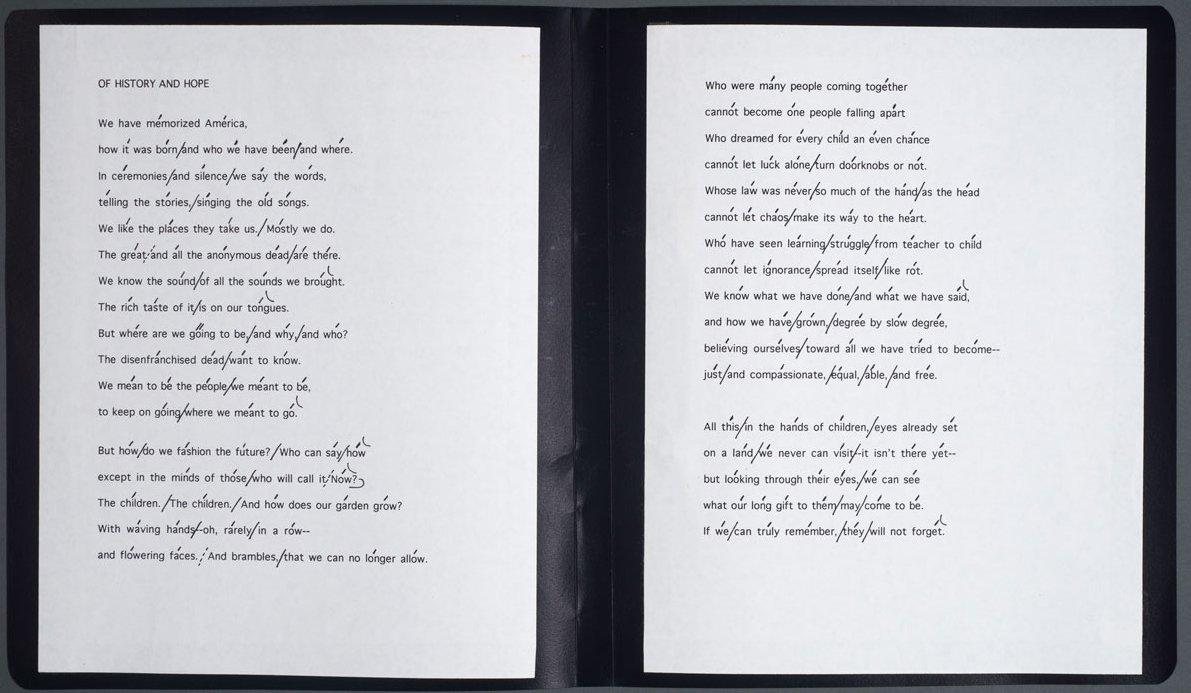 """Miller Williams's reading copy of his poem """"Of History and Hope,"""" read at the second inauguration of President Bill Clinton on January 20, 1997."""