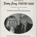 "A poster for ""Poetry Sung… Poetry Said: A Celebration of Music and Poetry with Lucinda Williams and Miller Williams""."