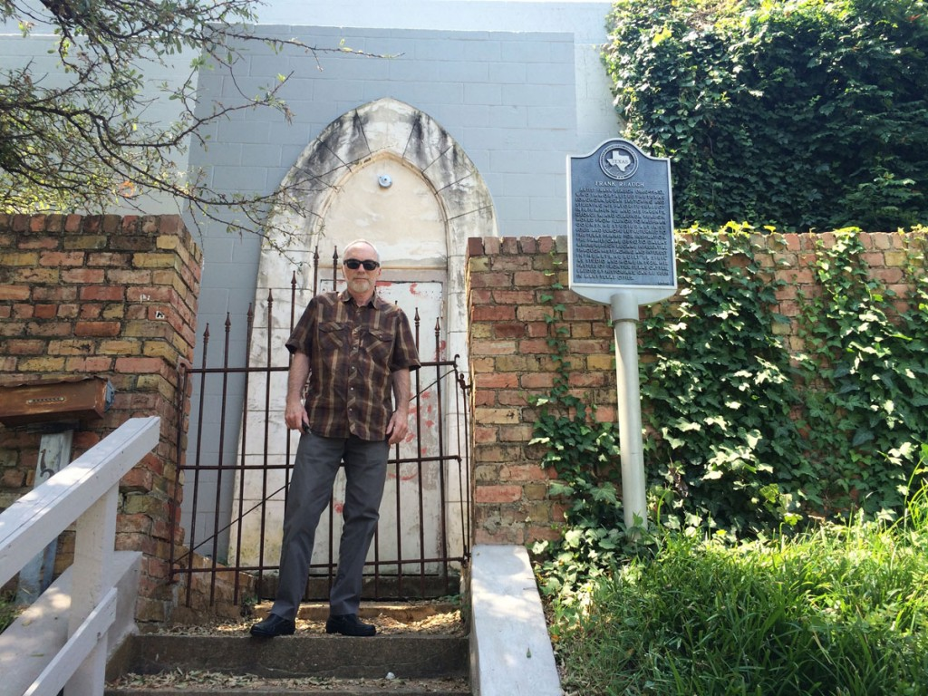 "Peter Mears standing in front of Frank Reaugh's studio ""El Sibil,"" Oak Cliff, Dallas, TX . Courtesy of Peter Mears."
