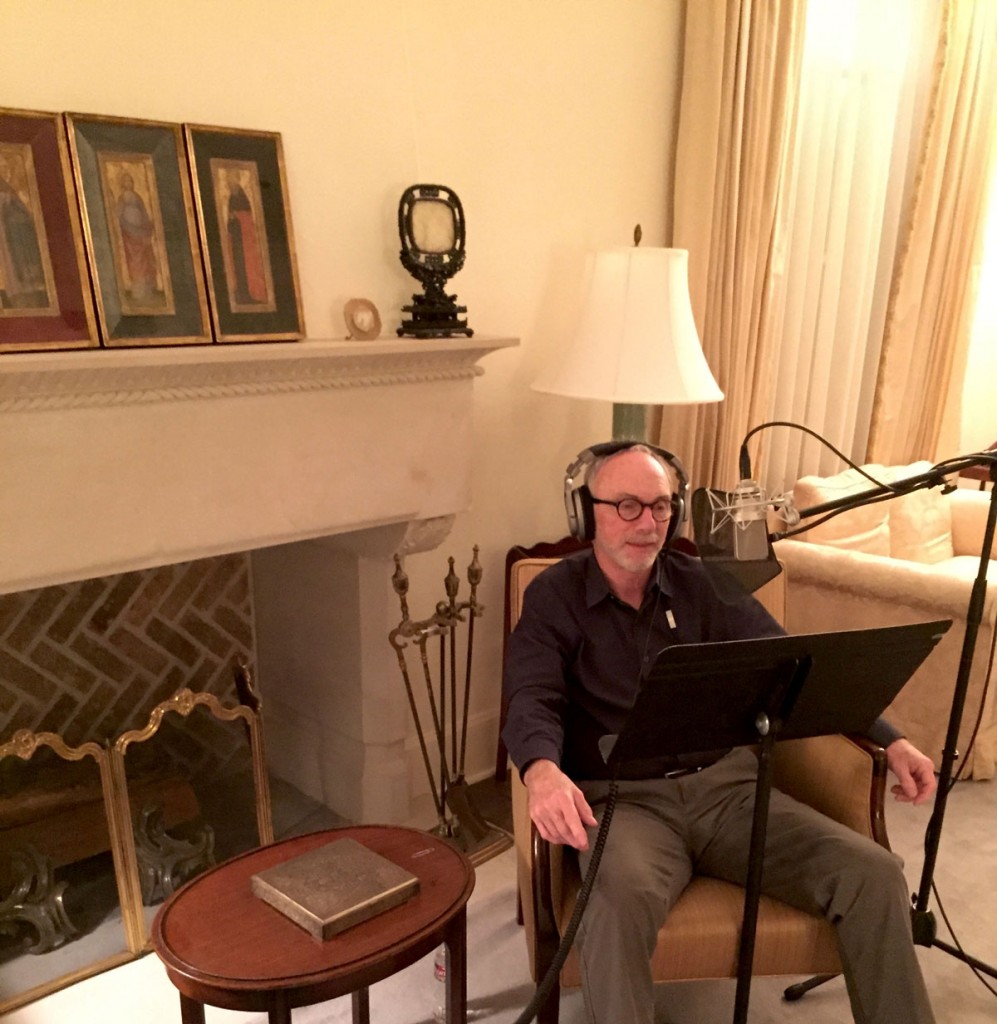 Peter Mears recording the audio tour for the exhibition Frank Reaugh: Landscapes of Texas and the American West. Photo by Jake Moon.