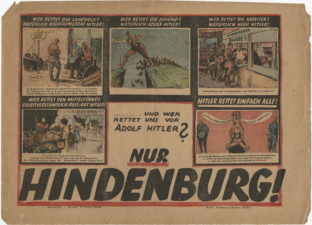 Sheet from the 1932 German elections ephemera collection.