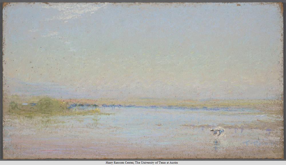 Frank Reaugh, 1860-1945, Quiet River, undated. Pastel on masonite, 26 x 46 x 1 cm.