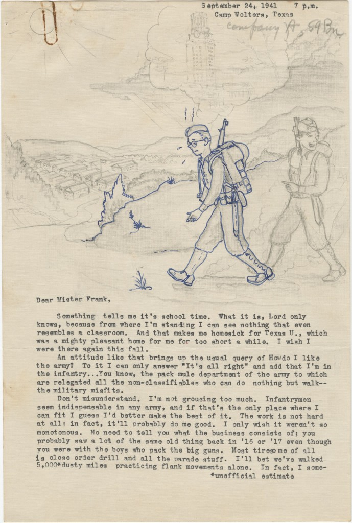 "Allen Reid Robertson. Illustrated letter to J. Frank Dobie, September 24, 1941. Letter from former Dobie student then in military training. Note that the ""thought bubble"" over his head depicts the UT Tower. (p. 1)"