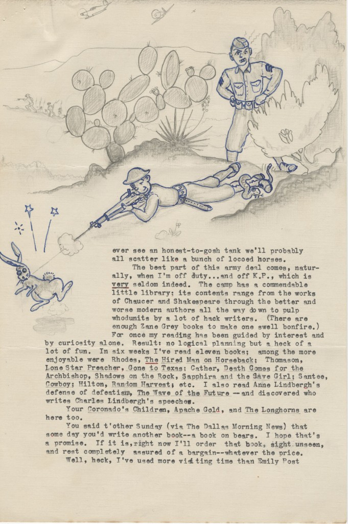 "Allen Reid Robertson. Illustrated letter to J. Frank Dobie, September 24, 1941. Letter from former Dobie student then in military training. Note that the ""thought bubble"" over his head depicts the UT Tower. (p. 3)"