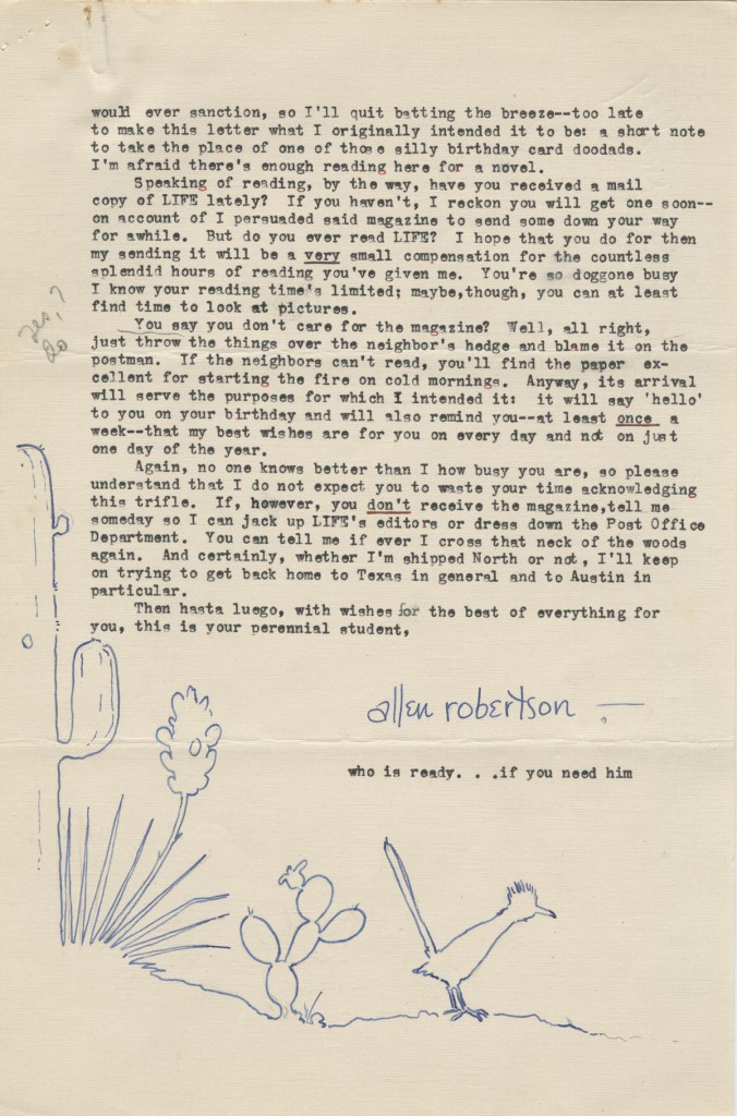 "Allen Reid Robertson. Illustrated letter to J. Frank Dobie, September 24, 1941. Letter from former Dobie student then in military training. Note that the ""thought bubble"" over his head depicts the UT Tower. (p. 4)"