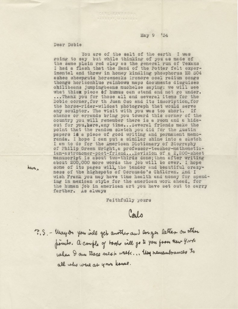Carl Sandburg, 1878-1967. Letter to J. Frank Dobie, May 9, 1934. Distinguished American poet, writer, and long-time friend of Dobie. He visited Dobie at his home in Austin, which now houses the Michener Center for Writers.