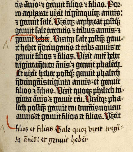Gutenberg Bible Page Turning: Genesis, Chapter XI, Volume I:9r