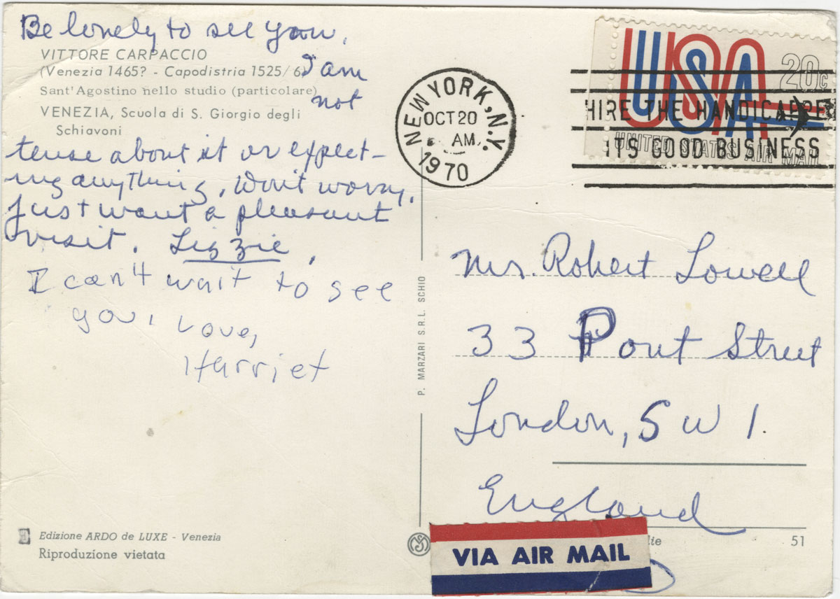 Postcard from Elizabeth Hardwick to Robert Lowell. October 20, 1970.