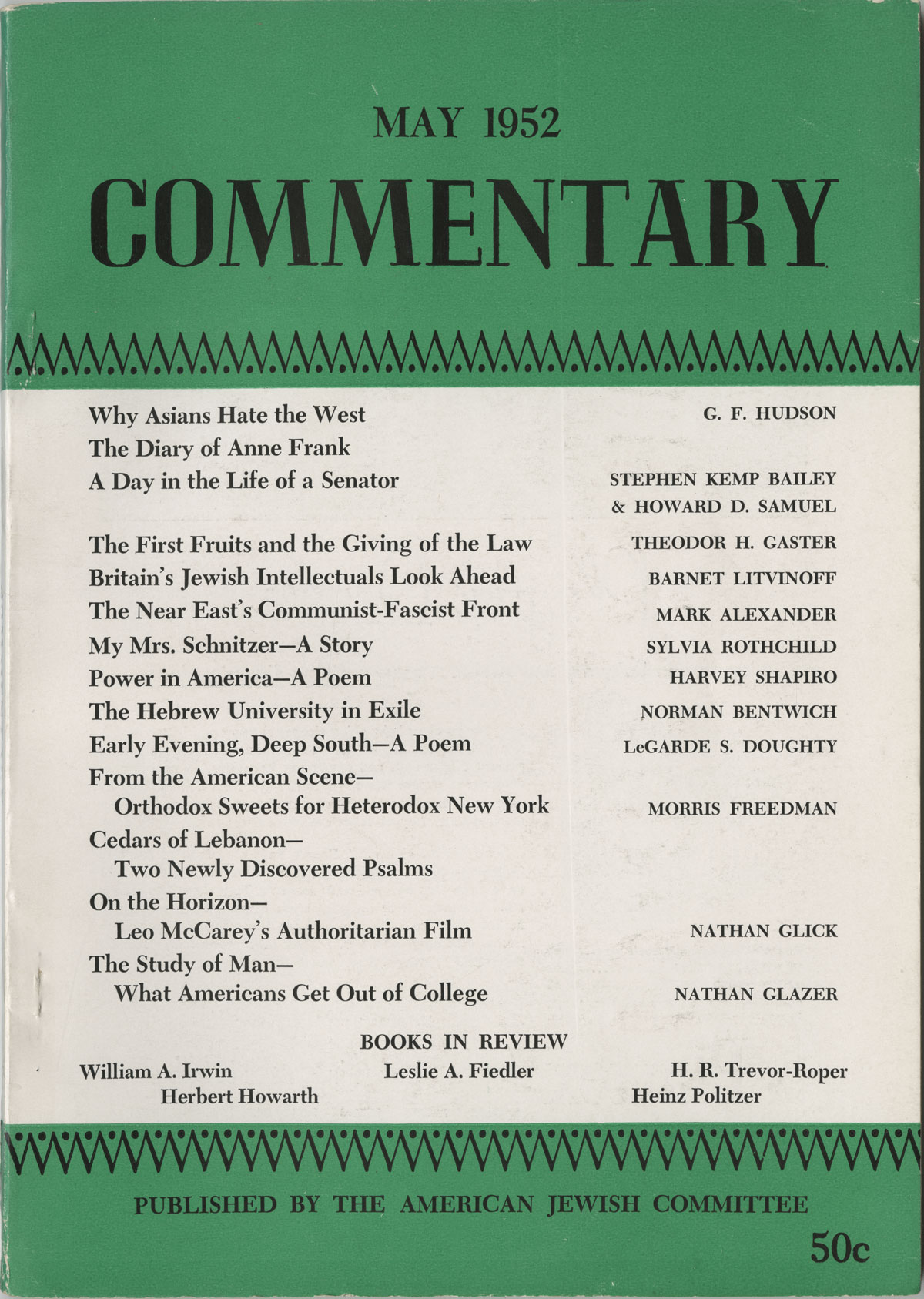 Cover of Commentary (May 1952) First U.S. Publication of The Diary of Anne Frank, Periodicals Collection.