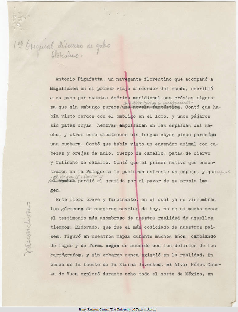 Gabriel García Márquez's text of Nobel Prize in Literature speech (1982).