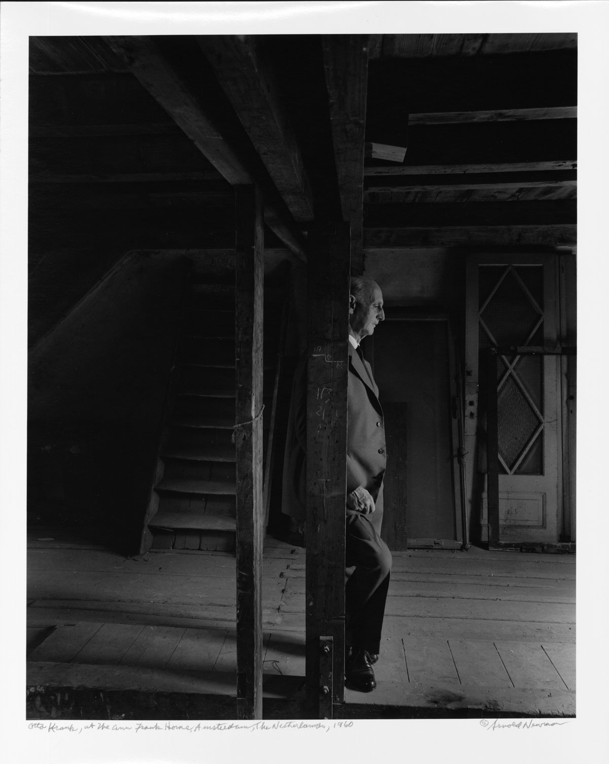 Otto Frank in the attic of the Anne Frank House, Amsterdam, Arnold Newman Collection