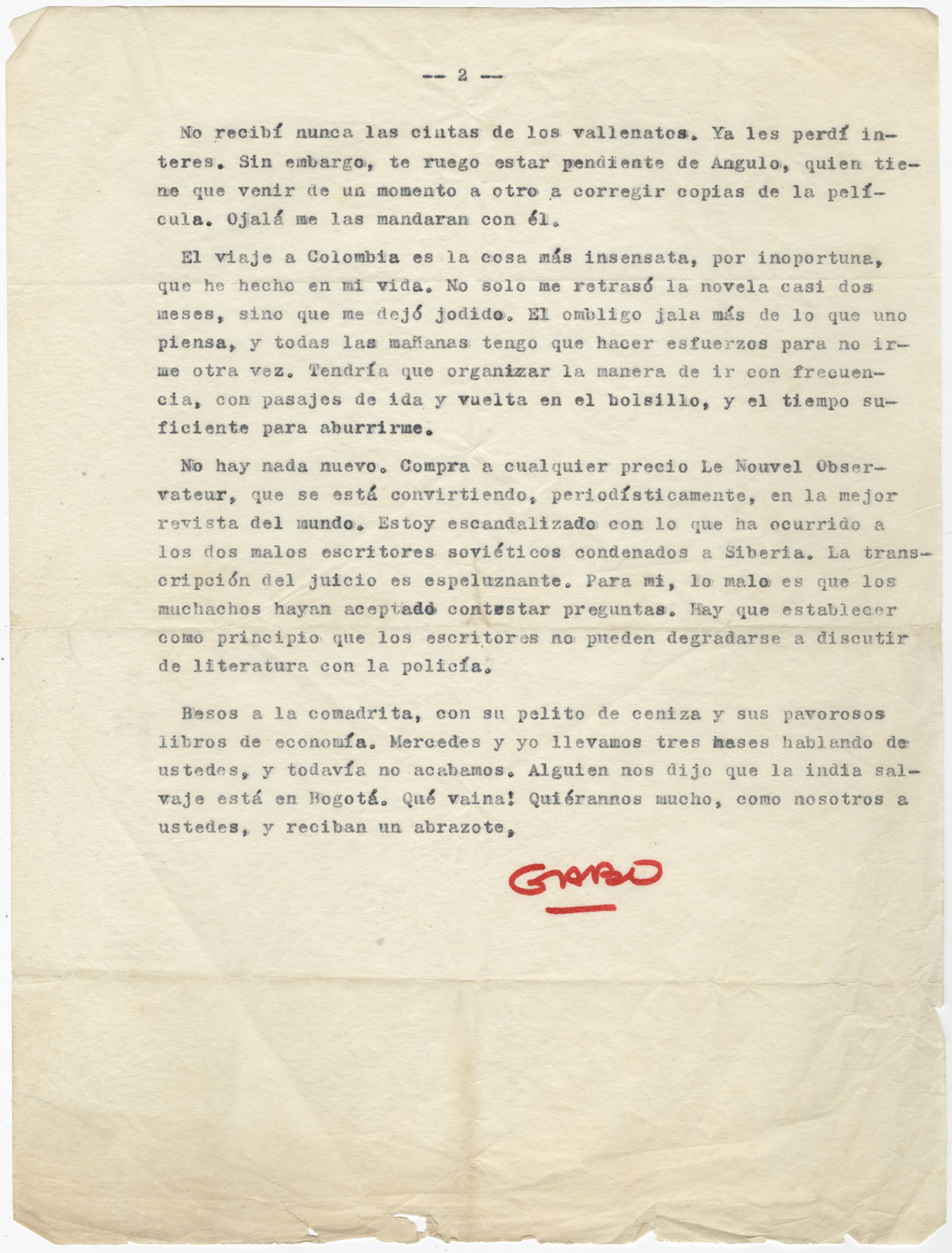 A letter from Gabriel García Márquez to his friend and fellow writer and journalist Plinio Apuleyo Mendoza, June 27 [1966] (page 2).