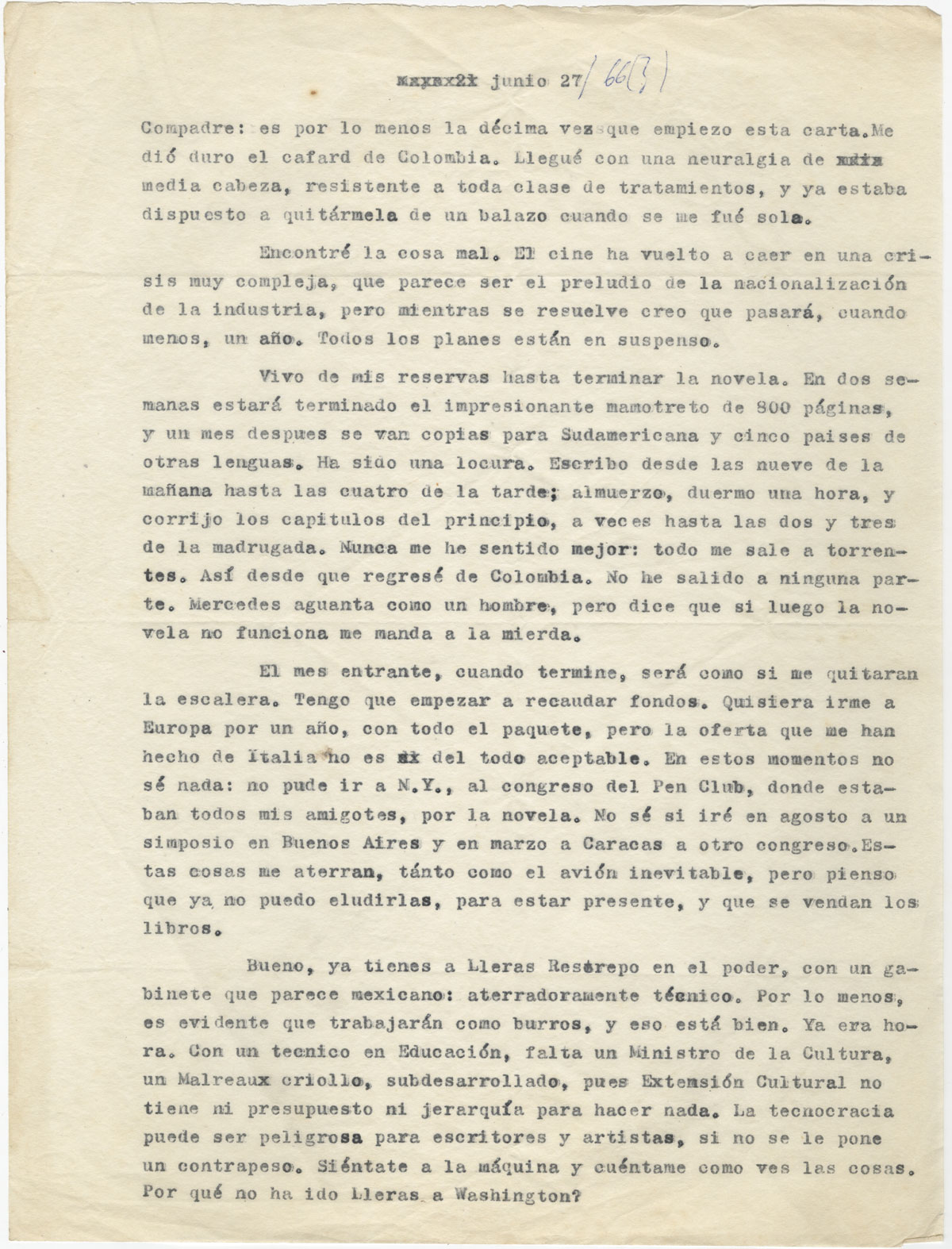 A letter from Gabriel García Márquez to his friend and fellow writer and journalist Plinio Apuleyo Mendoza, June 27 [1966] (page 1).