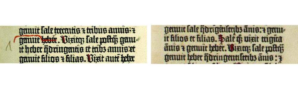 Harry Ransom Center copy (earlier state) (left) and (c) British Library Board [C.9.d.3., f. 9r] (right)