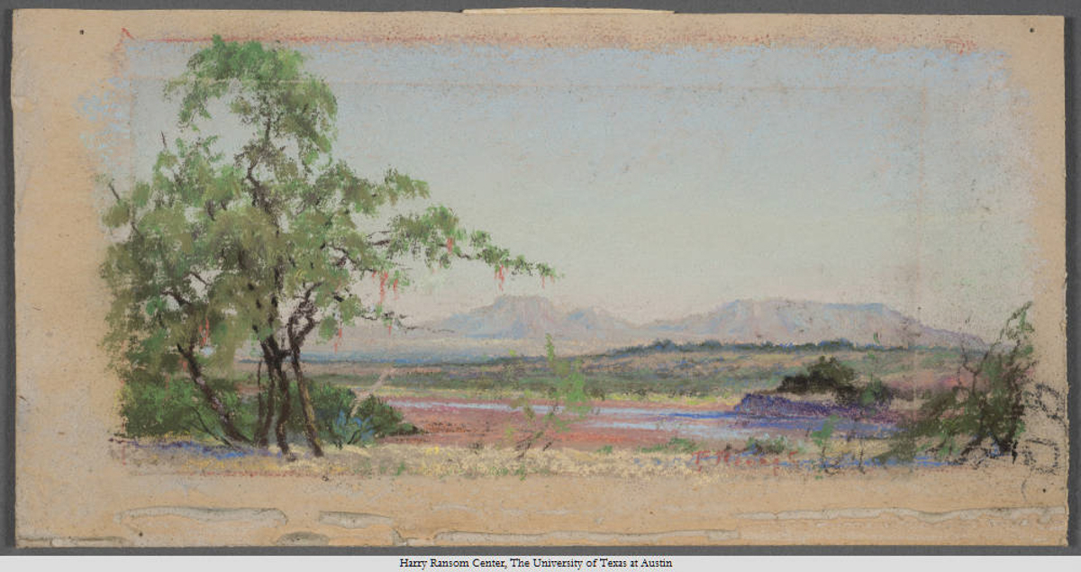 Double Mountain North of Roby, Frank Reaugh, 1860—1945. Undated. Pastel; 12 x 23 cm.