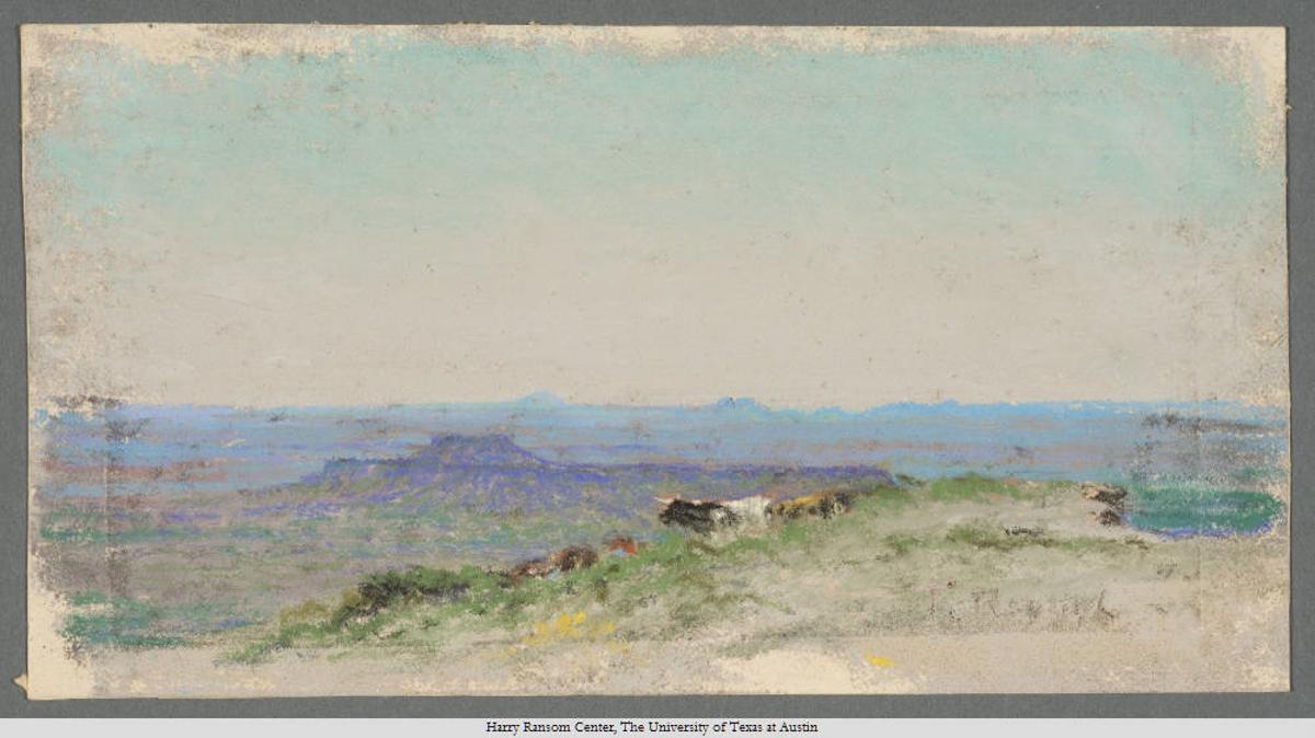 Quitaque Peak From Cap Rock, Frank Reaugh, 1860—1945. Undated. Pastel; 11 x 21 cm.