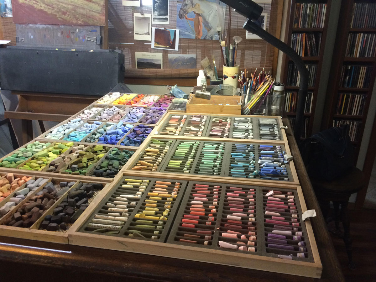 Jeri Salter's pastels and workspace. Photo by Rebecca Johnson.