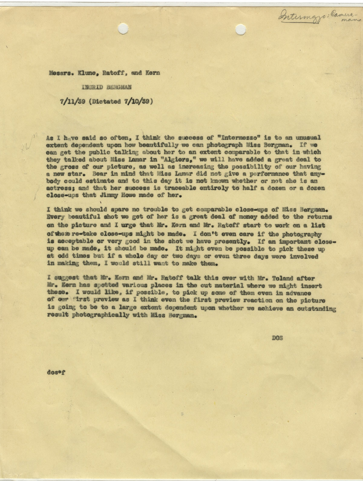 Memo from David O. Selznick about how close-ups of Ingrid Bergman translate into better financial returns at the box office. David O. Selznick collection.