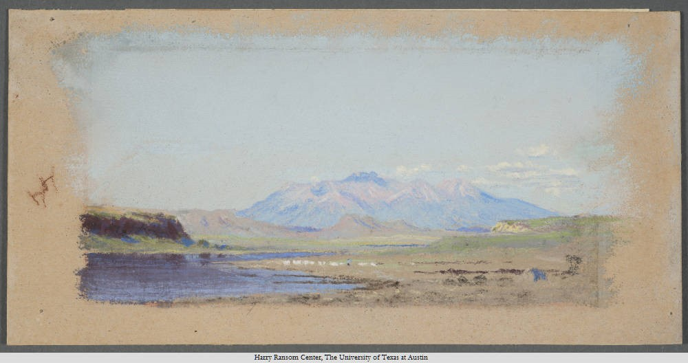 Frank Reaugh (Reaugh, Frank, 1860-1945), On the Rio Grande, undated. Pastel, 12 x 23 cm.
