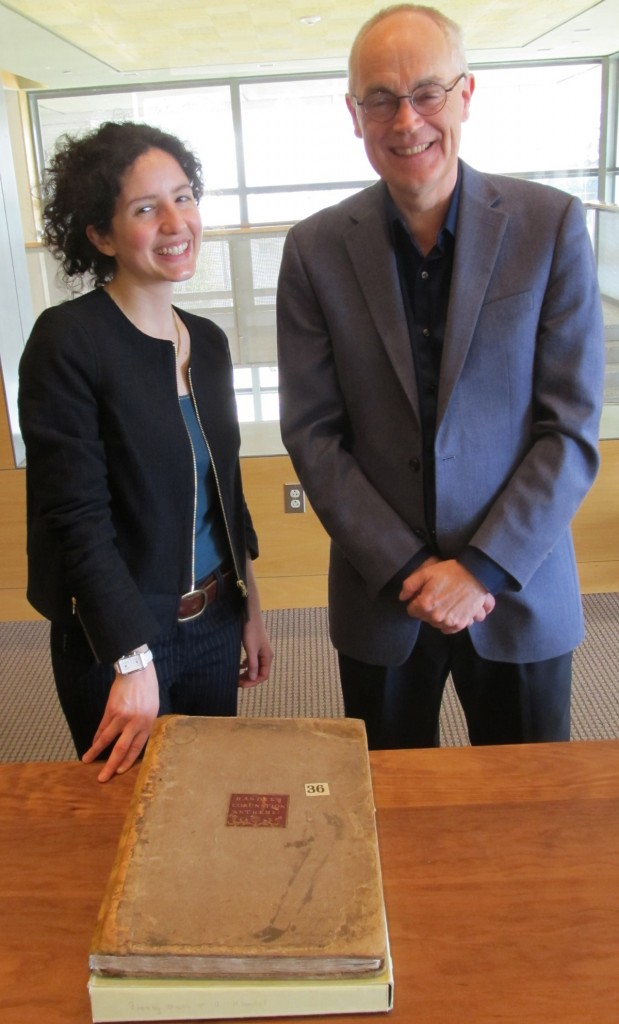 Intern Justine Provino with David Hunter, Interim Head, Fine Arts Library, UT Austin, who consulted on the treatment of this music manuscript.