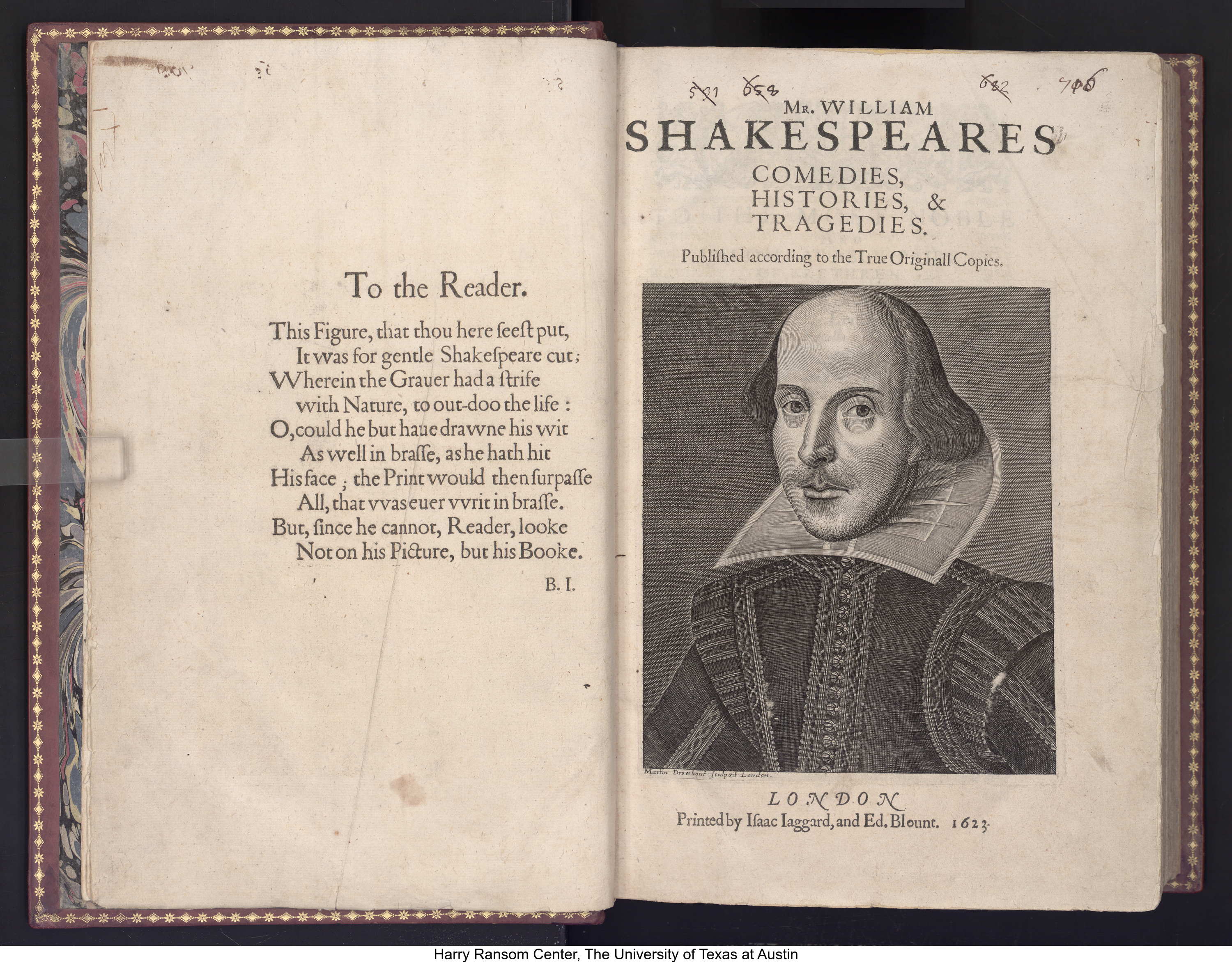 Mr. VVilliam Shakespeares comedies, histories, & tragedies. Published according to the true originall copies, 1623. William Shakespeare, 1564-1616, author; John Heminge, approximately 1556-1630, editor; Henry Condell, -1627, editor; Carl Howard Pforzheimer , 1879-1957, former owner; Newdegate family, former owner; Roger Payne, 1739-1797, binder.