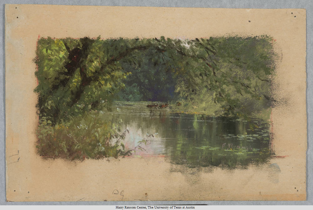 "Frank Reaugh (1860-1945), ""The Lake--McKavett."" pastel, 15 x 24 cm. Undated."