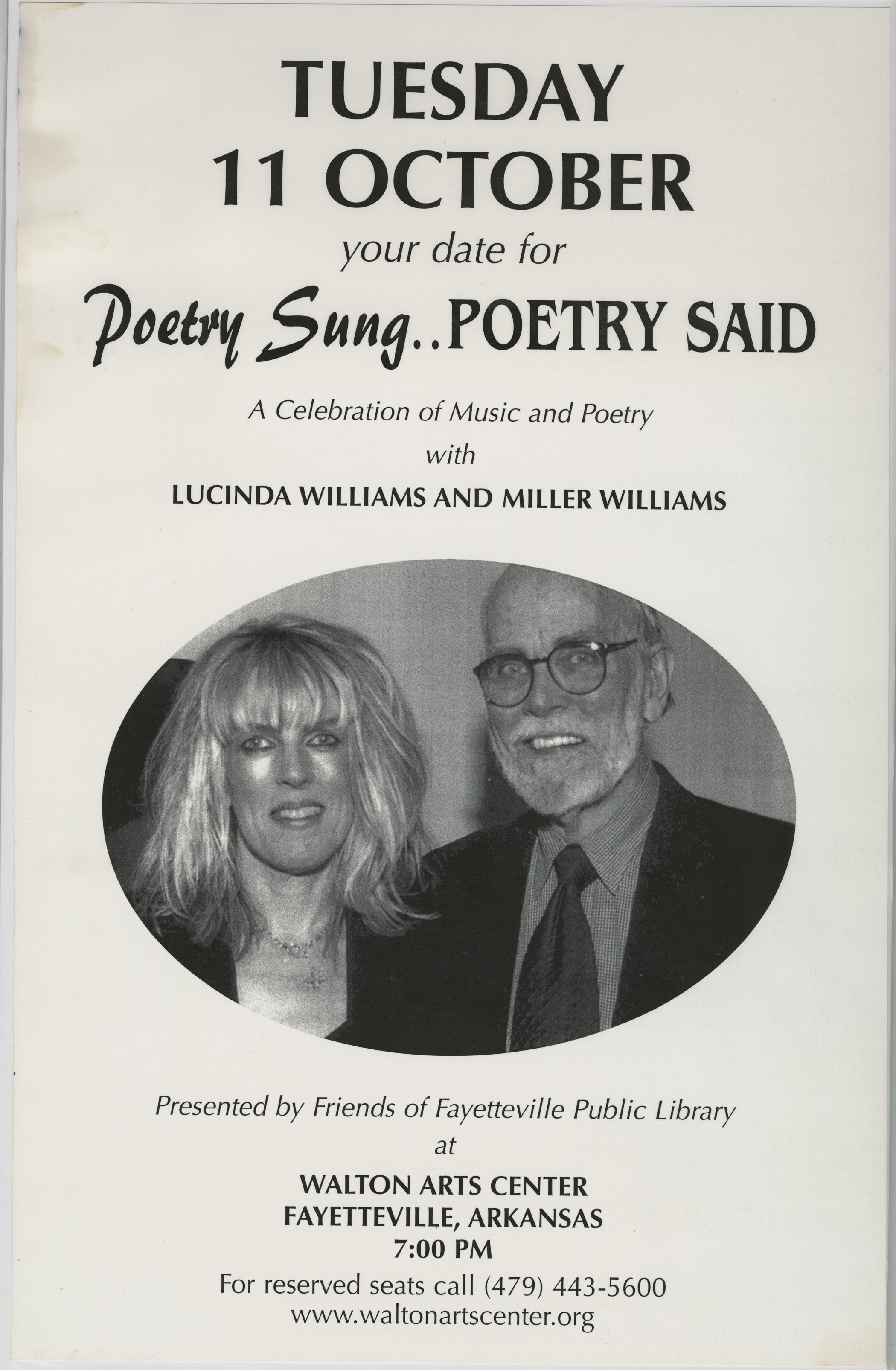 "A poster for ""Poetry Sung...Poetry Said: A Celebration of Music and Poetry with Lucinda Williams and Miller Williams."""