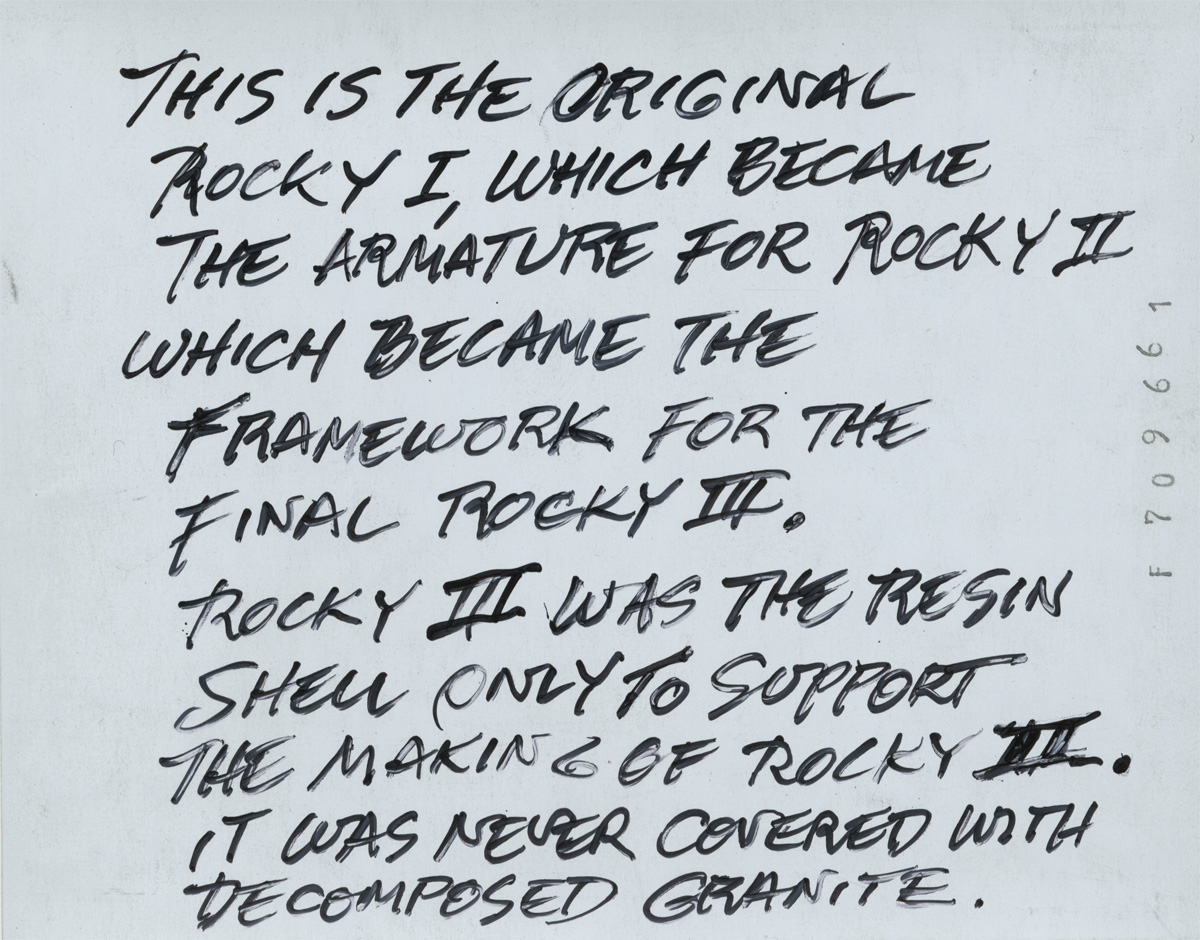 Paul Ruscha's (Ed's brother) handwritten notes on the backside of [Rocky I], Polaroid print, 3¼ x 4¼ inches. © Ed Ruscha.