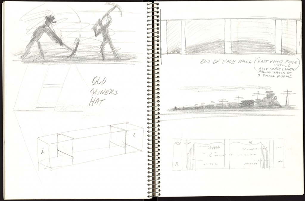A page from one of Ruscha's journals featuring sketches for the Denver Central Library project, 1993–1995. © Ed Ruscha. After the success in Miami, Ruscha went on to create a similar set of paintings in 1995 for Denver Central Library. For this project Ruscha took inspiration from the history of the West and Colorado and created a series of 70 panoramic panels for the main hall and atriums. These are pages from a sketchbook Ruscha kept for the project depicting some of the ideas he had for the paintings. There are other sketchbooks within the collection that contain notes and ideas for a variety of his projects.