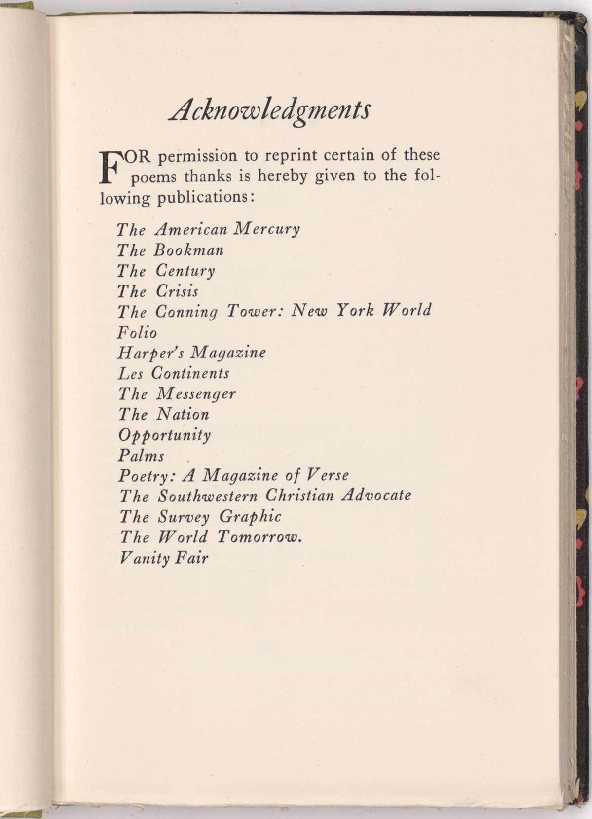 The acknowledgements page reveals how extensively Cullen had published his work even before the publication of Color.