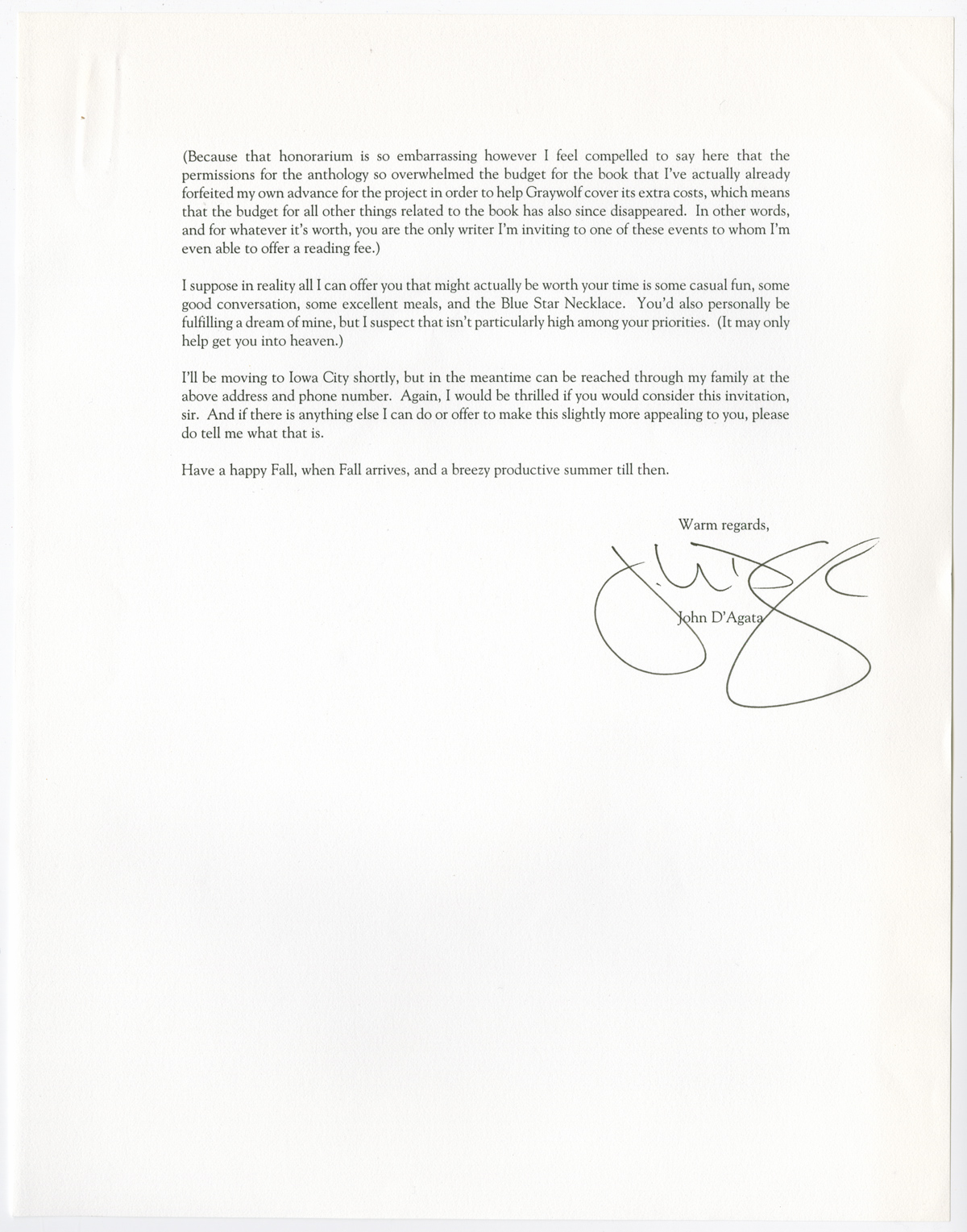 Letter from John D'Agata to Davenport. August 17, 2003.