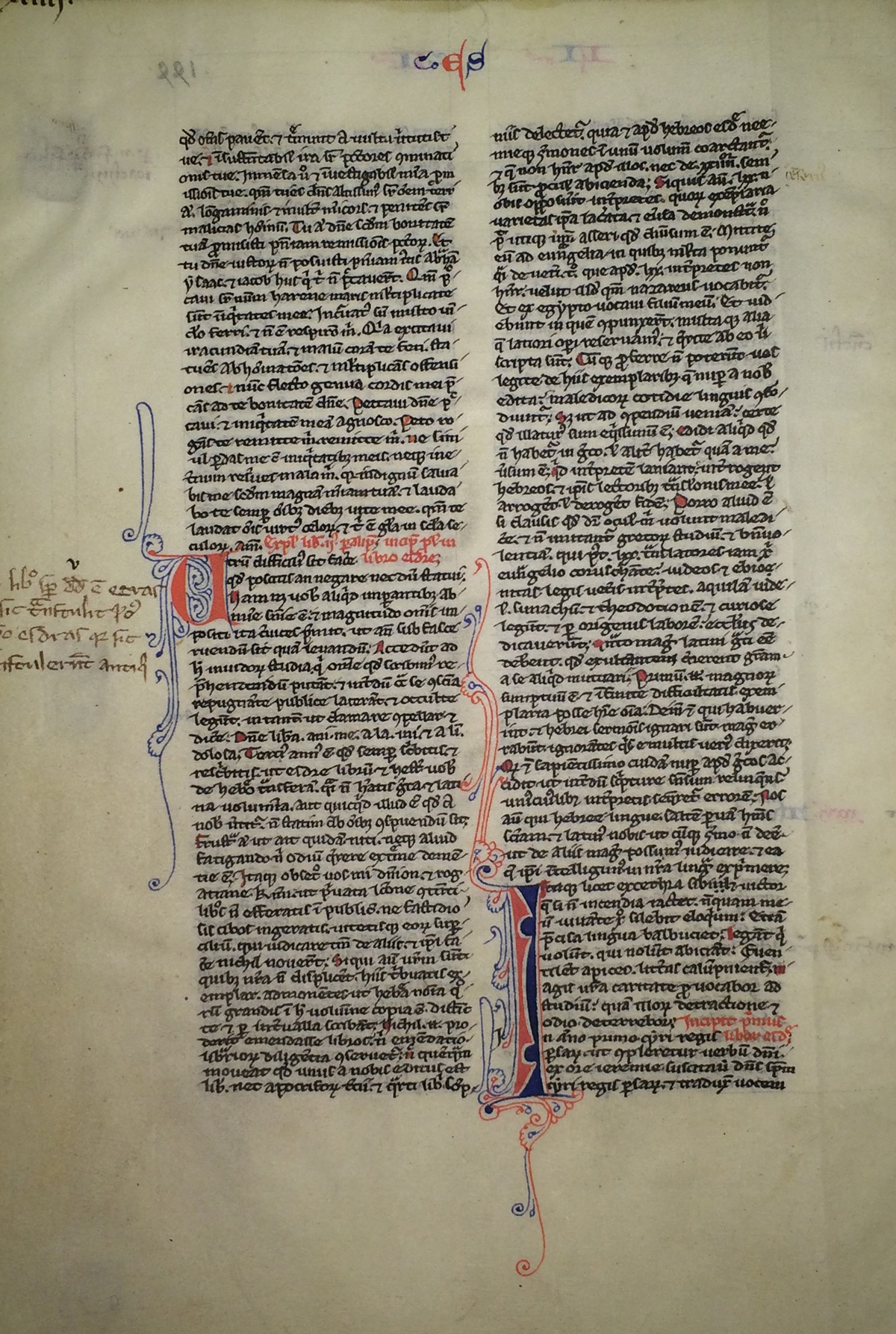 Caption: HRC Leaf B5 Bible leaf, ca. 1240.