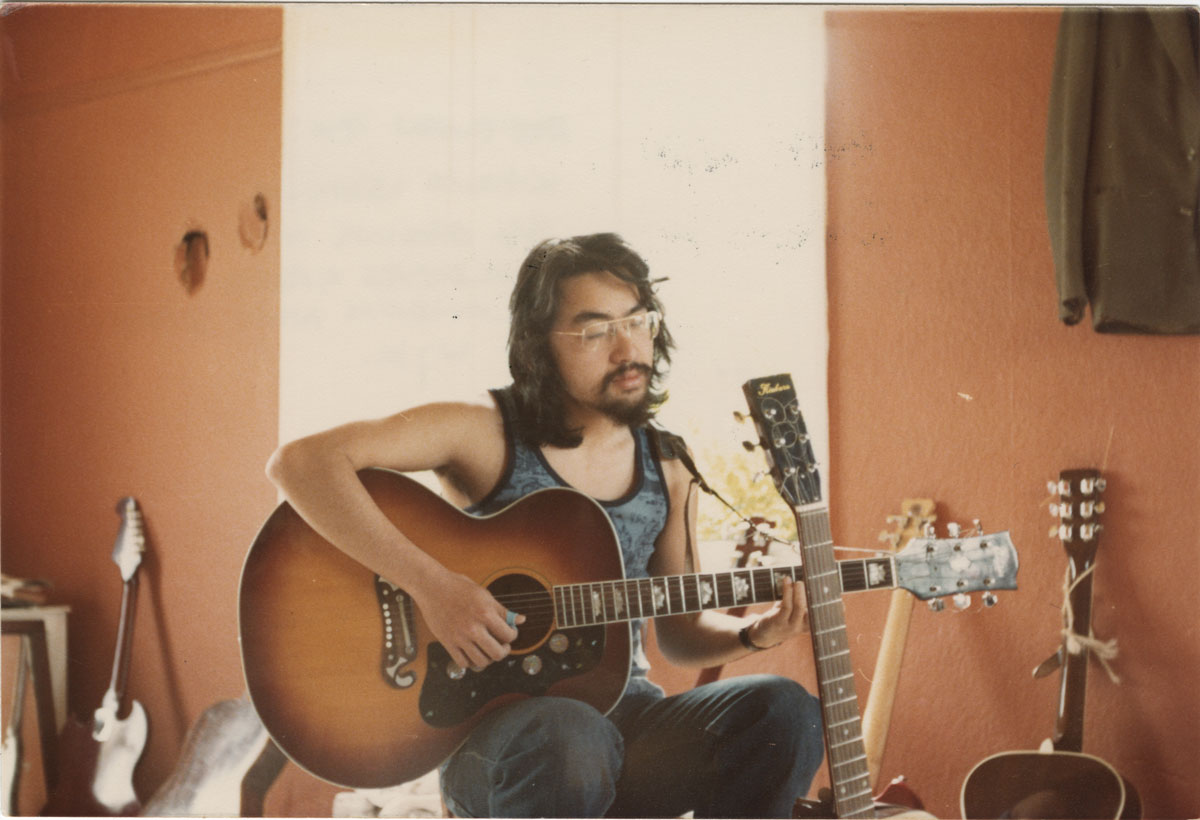 Ishiguro as singer-songwriter in his early twenties, Broadoak, Kent, 1977. Ishiguro still plays guitar-and a number of other instruments-and composed lyrics for jazz singer Stacey Kent in 2007.