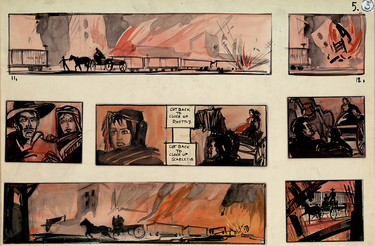 Storyboard by William Cameron Menzies for the Burning of Atlanta scene in Gone With The Wind, ca. 1939.