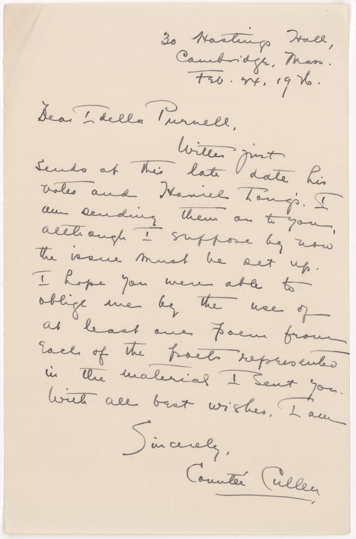 "Cullen's letter of February 24, 1926 reiterates his desire to make sure all of the poets he submitted have been included in the special issue of Palms. Cullen's signature includes an accent over the first ""e"" in Countée, though his name often appeared in print without the accent mark."