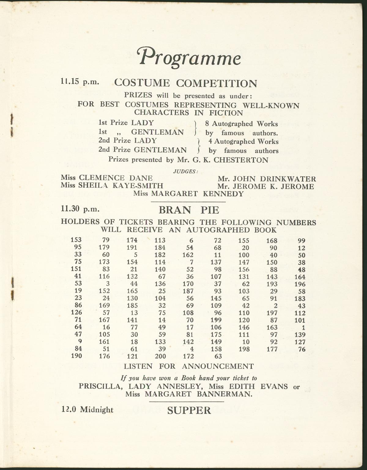 Event program for 1927 P.E.N. International Ball.