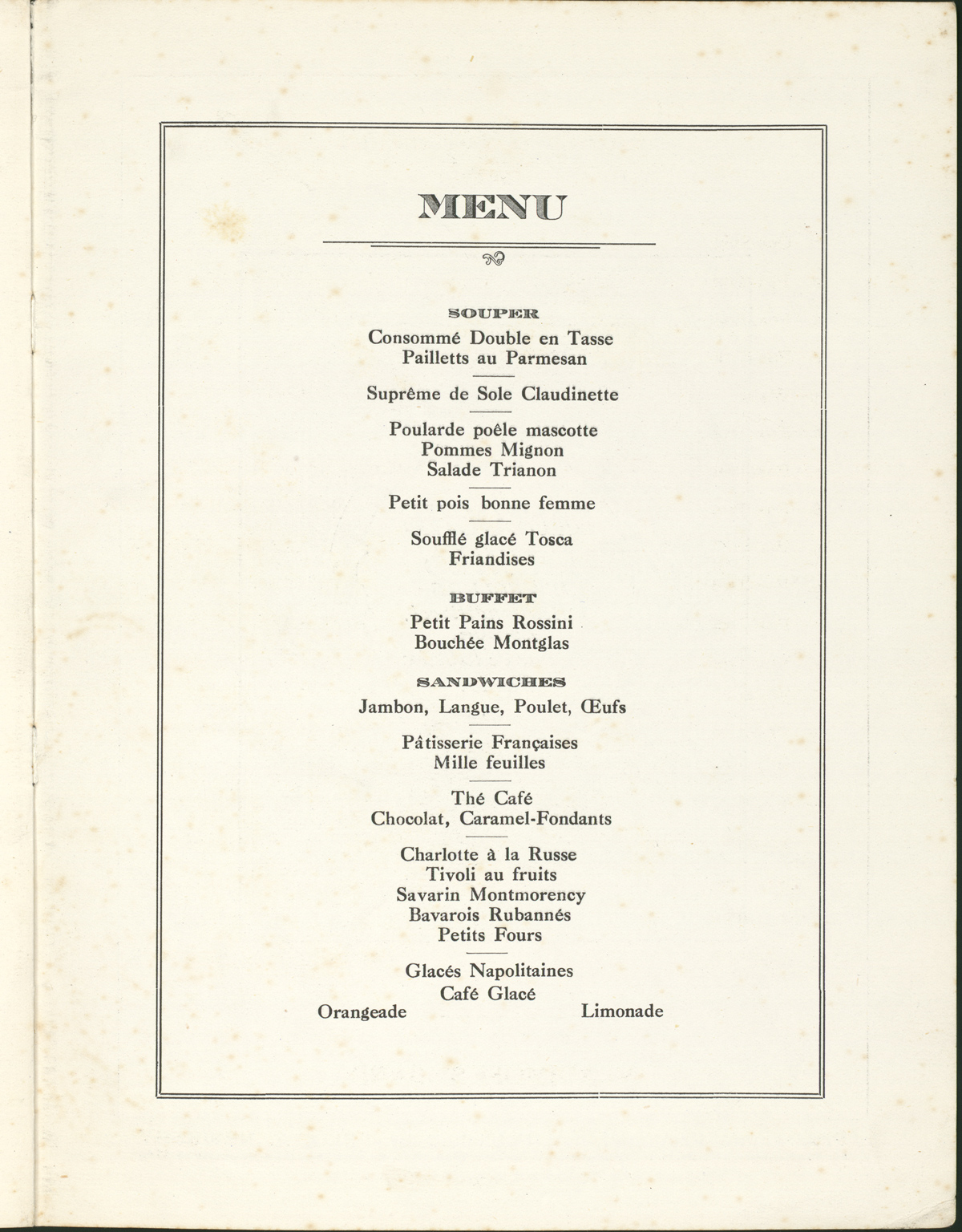 Florence Restaurant Menu for P.E.N. Club dinner held on October 5, 1921.