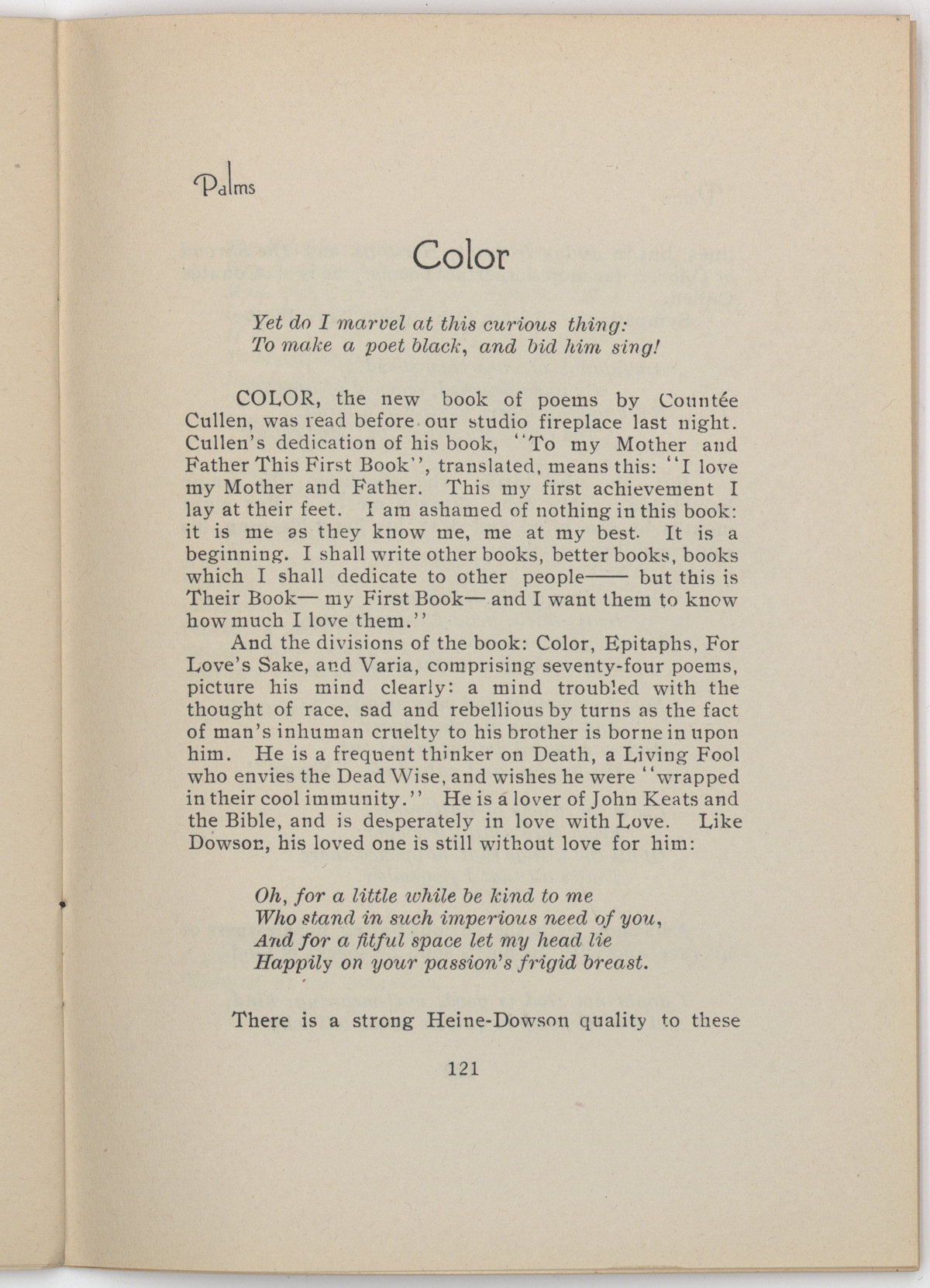 The first page of John Weatherwax's review of Color from the January 1926 issue of Palms.