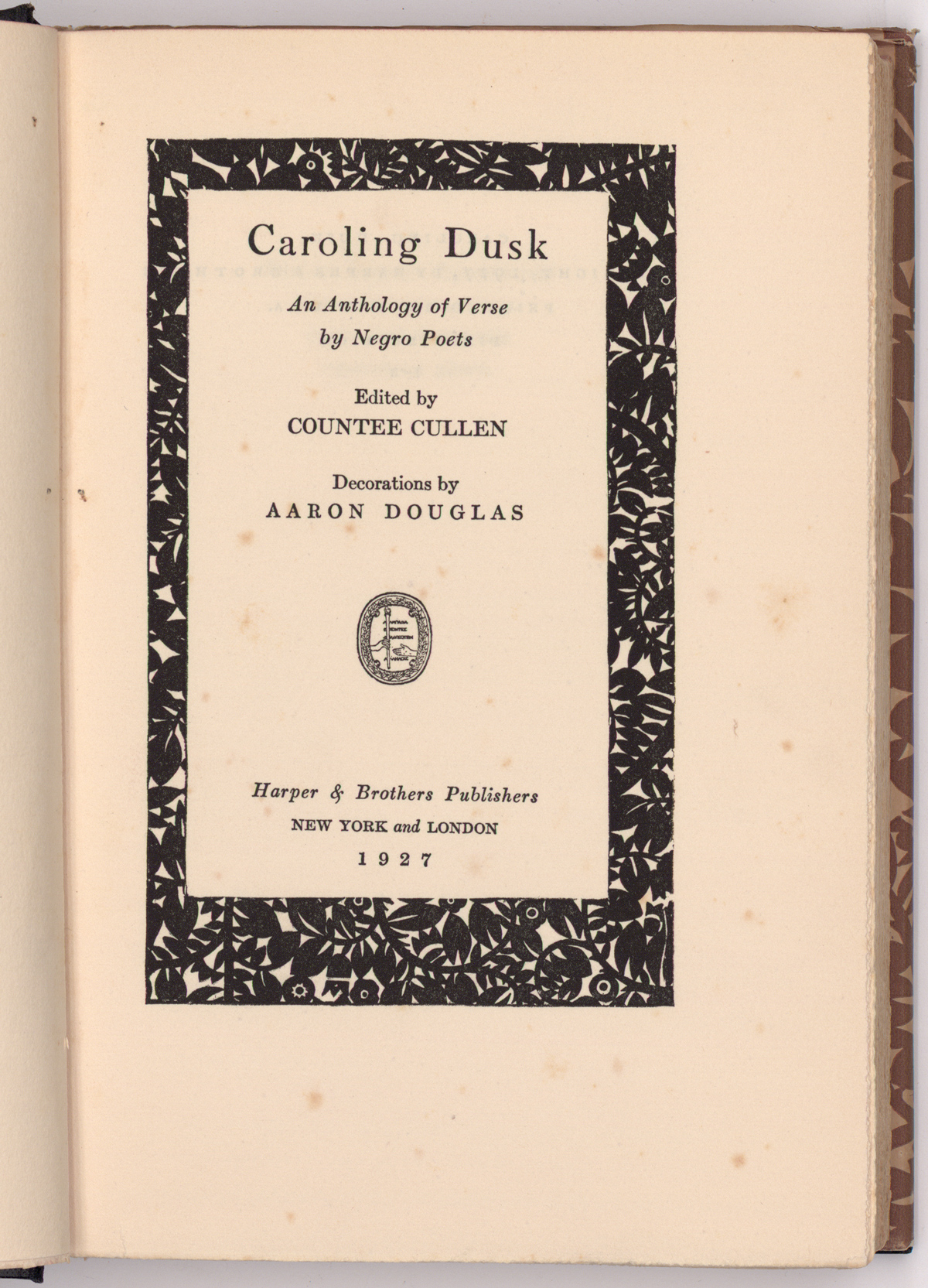 The title page of Caroling Dusk, An Anthology of Verse by Negro Poets.