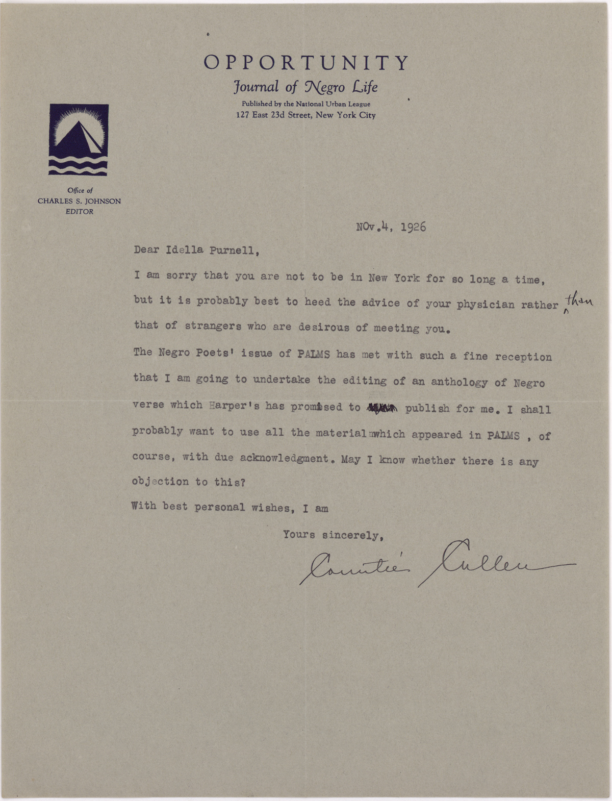 "Countée Cullen's November 4, 1926, letter to Palms editor Idella Purnell, in which he mentions his plan to publish an ""anthology of Negro verse"" for Harper's."