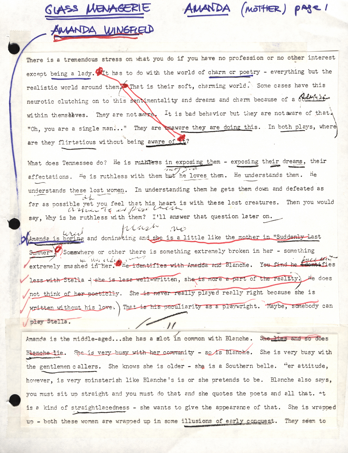 "Stella Adler's teaching notes for the role of Amanda Wingfield in Tennessee Williams' ""The Glass Menagerie."" Stella used these notes in a 1974 class in Script Interpretation at the Stella Adler Conservatory. (c) Stella Adler Studio"