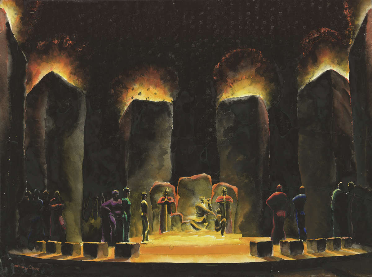 Norman Bel Geddes, A rendering of King Lear's throne, circa 1917, watercolor on paper, 14 7/8 x 20 1/16 inches.