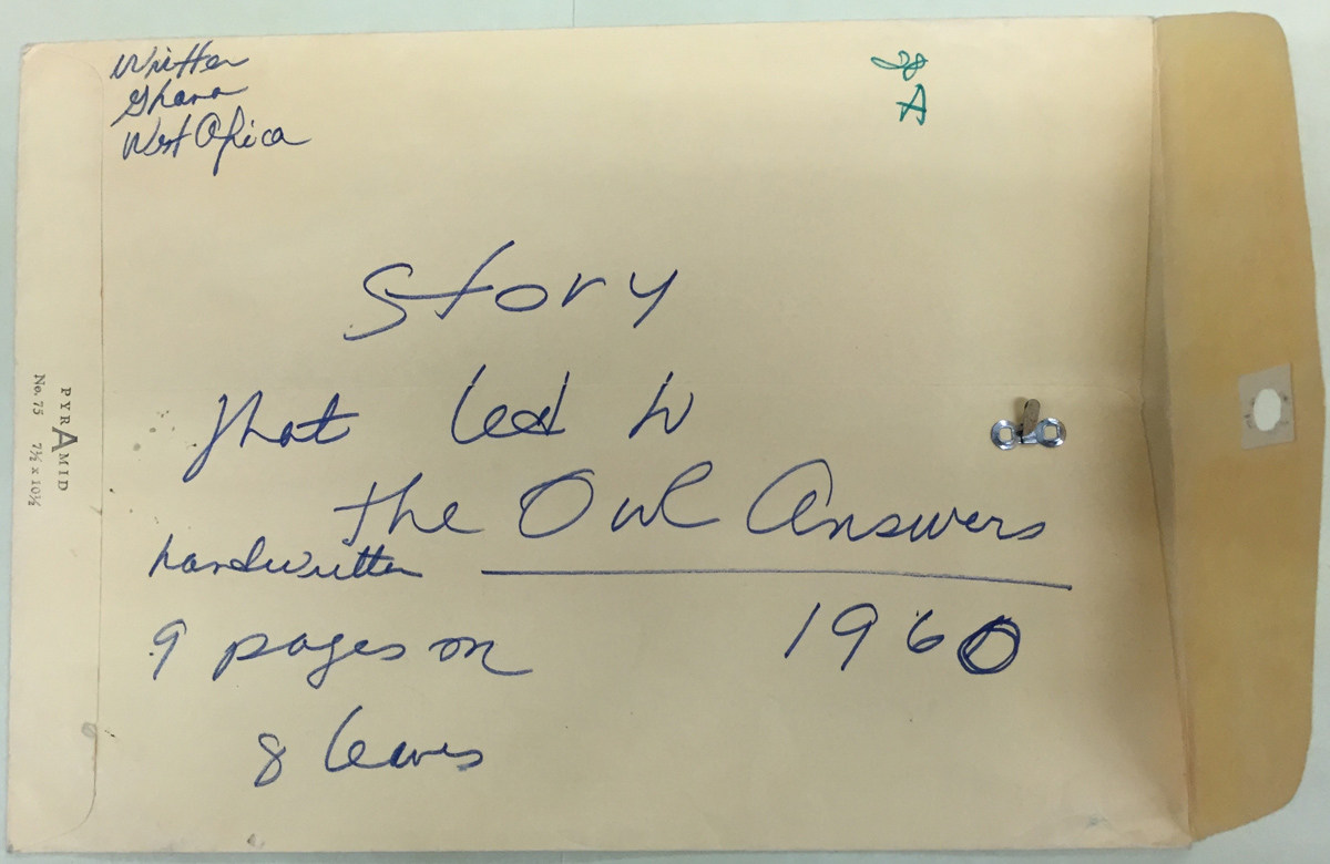 Manuscript for The Owl Answers, 1960. Adrienne Kennedy Papers. Harry Ransom Center, University of Texas at Austin.
