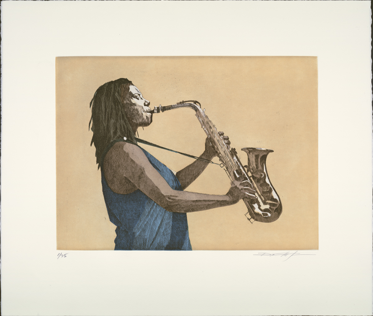 "Dean Mitchell (b. 1957). Illustration for Maya Angelou's ""Music, Deep Rivers in my Soul"" (2003). Copyright Dean Mitchell."
