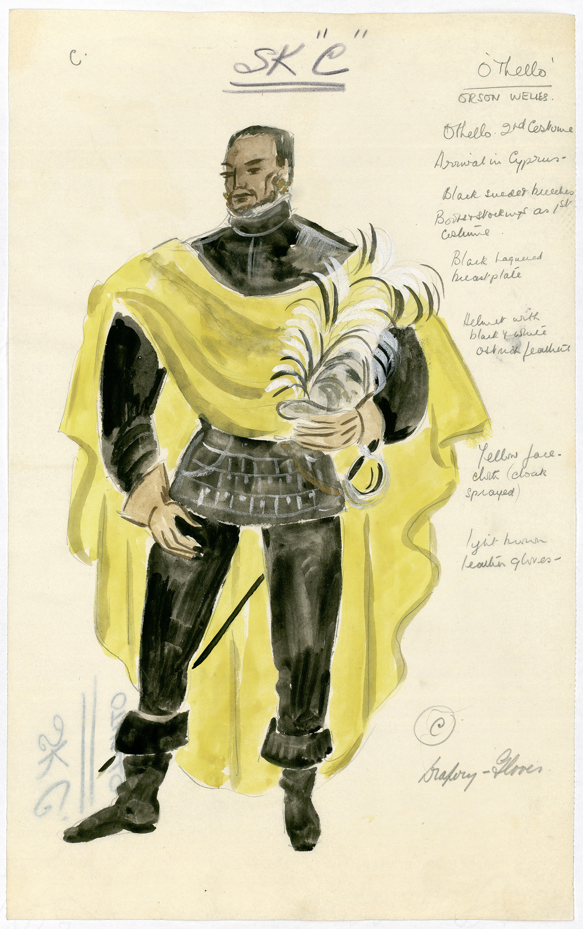 A costume design (after Motley) for Orson Welles in the role of Othello, circa 1951.