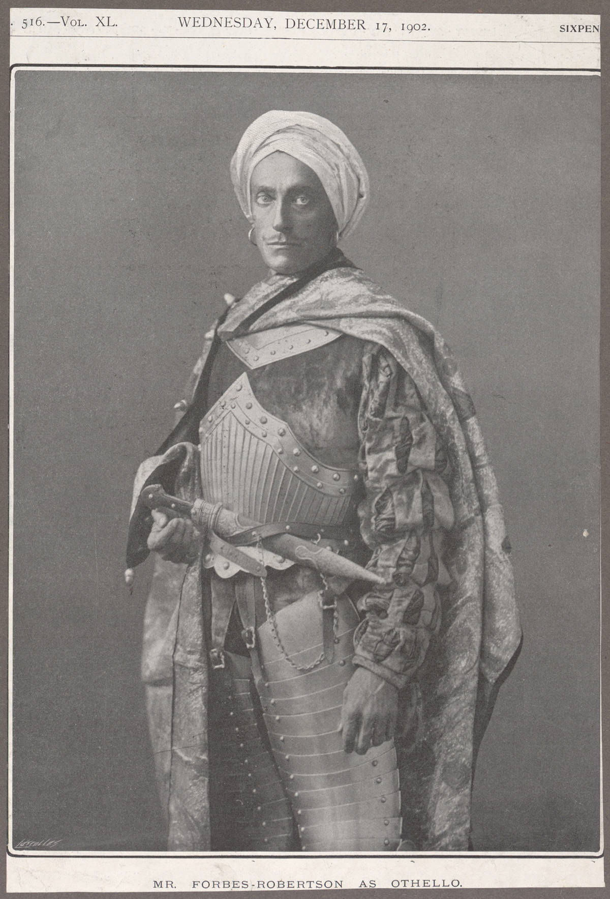 Clipping showing Johnston Forbes-Robertson in the role of Othello, 1902.
