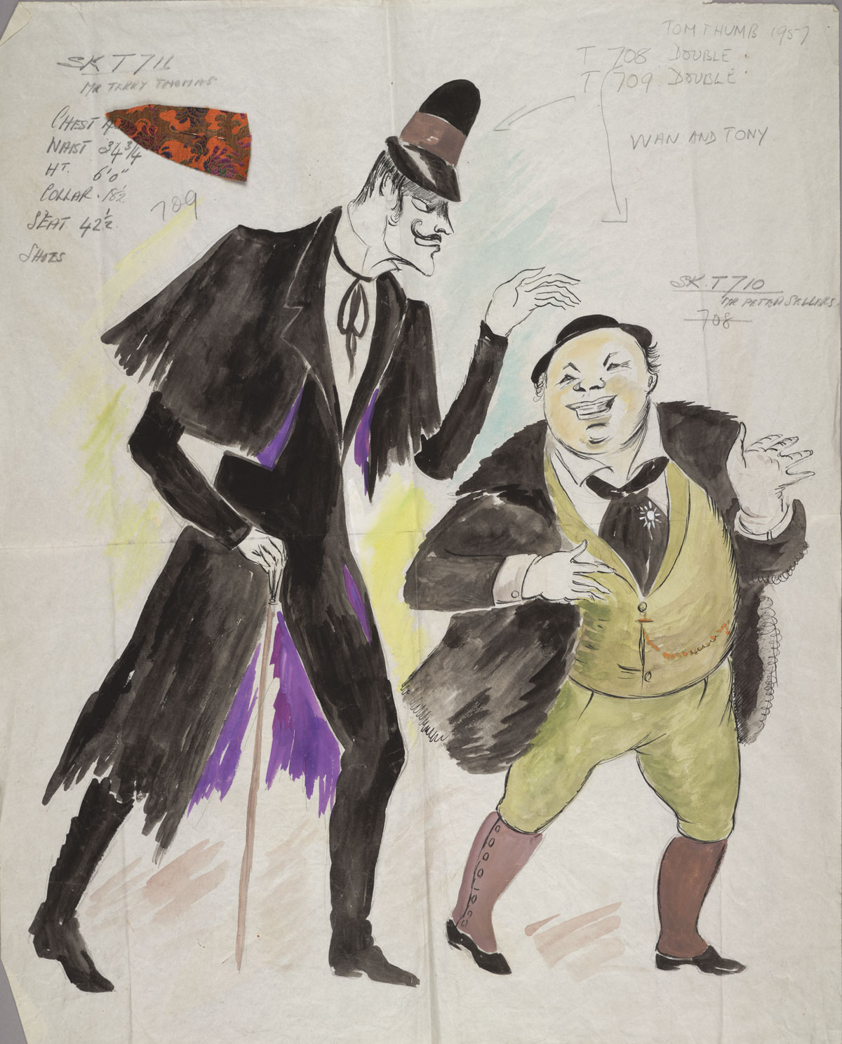 "B. J. Simmons & Co.'s costume design for Ivan and Tony in the film ""Tom Thumb,"" circa 1958."