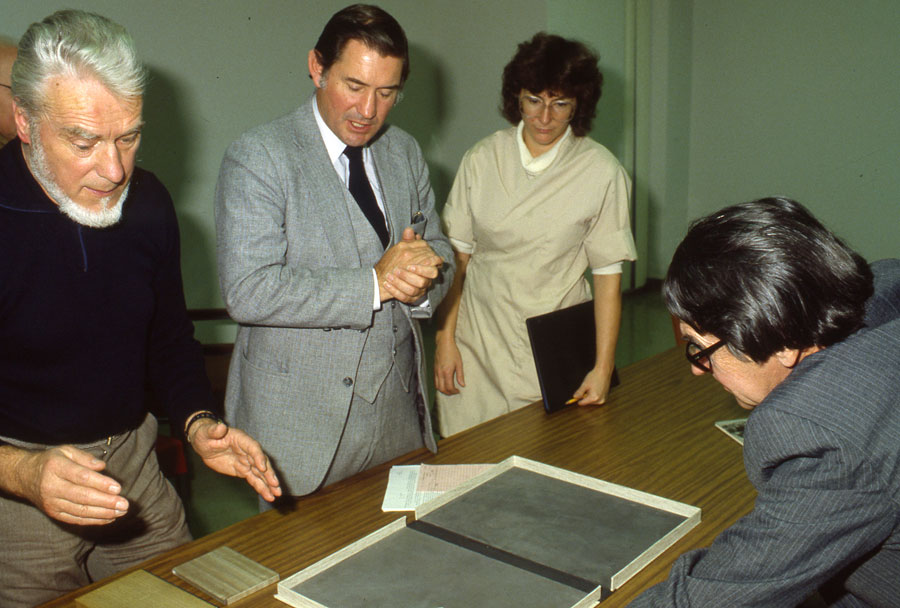 From left to right: Hugo Peller, a Swiss master bookbinder, Don Etherington, Jane Boyd, and Decherd Turner, former director of the Harry Ransom Center.