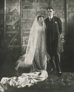 "Prince and Princess Bibesco wedding, 1919. Image taken from ""An Autobiography"" by Margot Asquit published by Doran, New York in 1922"