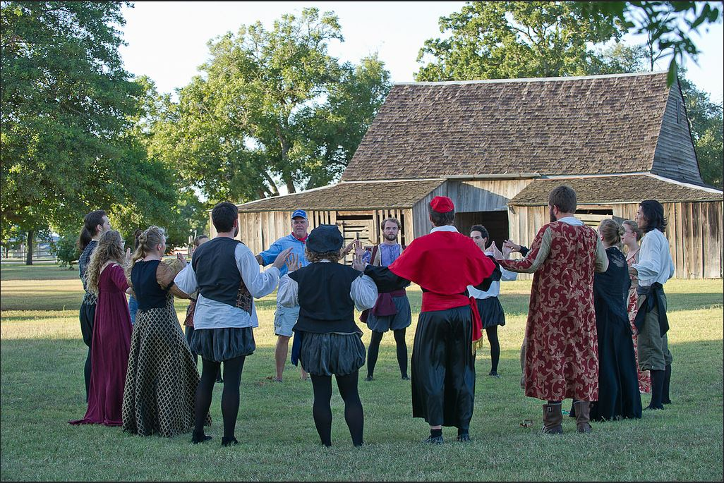 Shakespeare at Winedale students with Prof. Leohlin outside the barn theater during rehearsals for Duchess of Malfi, August 7, 2015. Photo Credit: Mark Metts